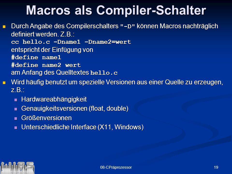 Macros als Compiler-Schalter