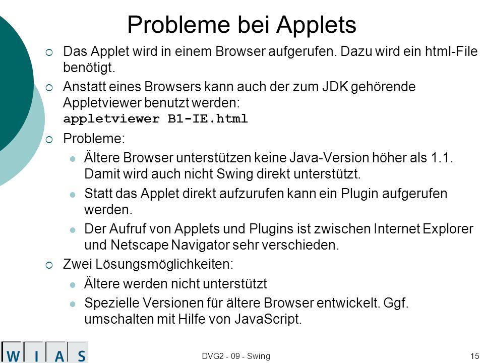 Probleme bei Applets Das Applet wird in einem Browser aufgerufen. Dazu wird ein html-File benötigt.