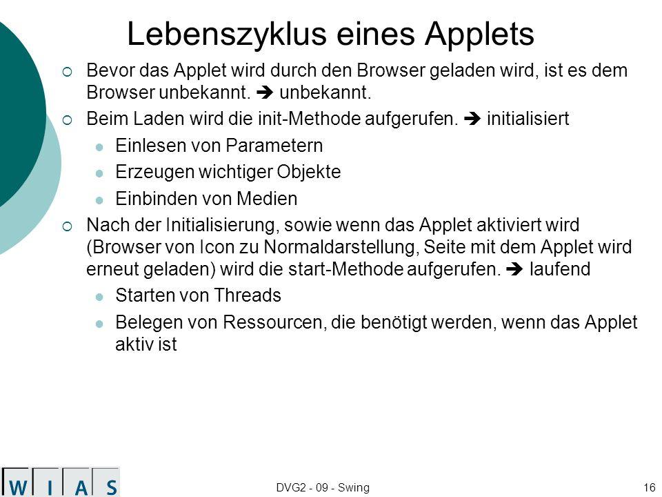 Lebenszyklus eines Applets