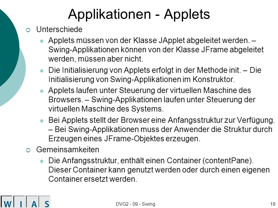 Applikationen - Applets