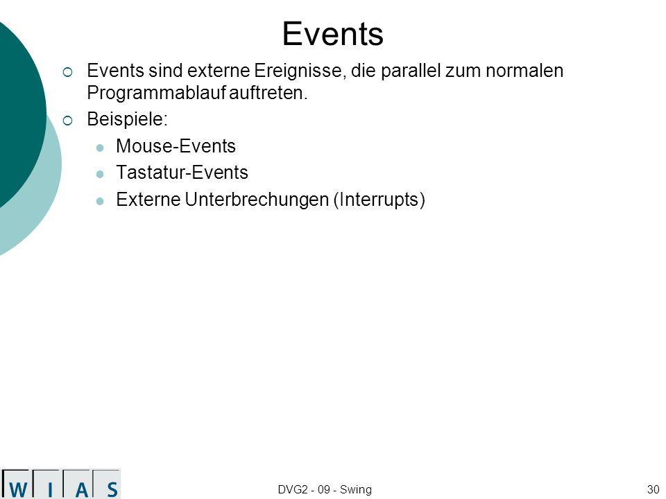 Events Events sind externe Ereignisse, die parallel zum normalen Programmablauf auftreten. Beispiele: