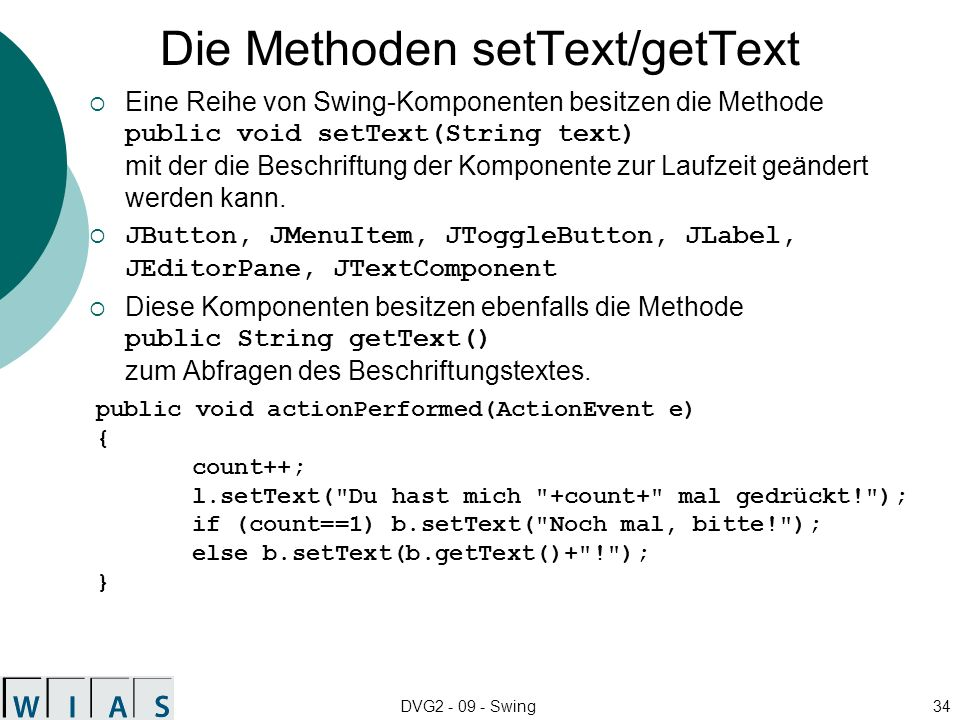 Die Methoden setText/getText