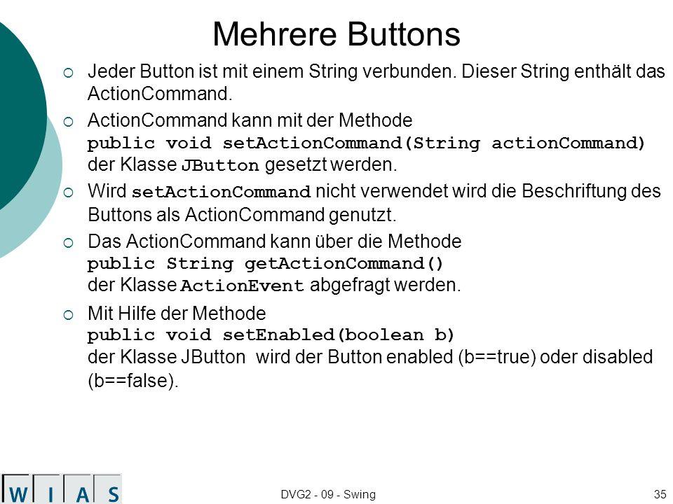 Mehrere Buttons Jeder Button ist mit einem String verbunden. Dieser String enthält das ActionCommand.