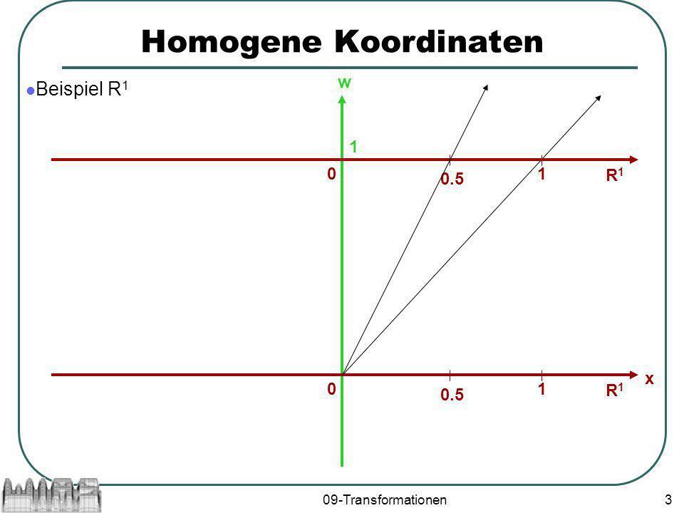 Homogene Koordinaten Beispiel R1 w 1 1 R1 0.5 x 1 R1 0.5