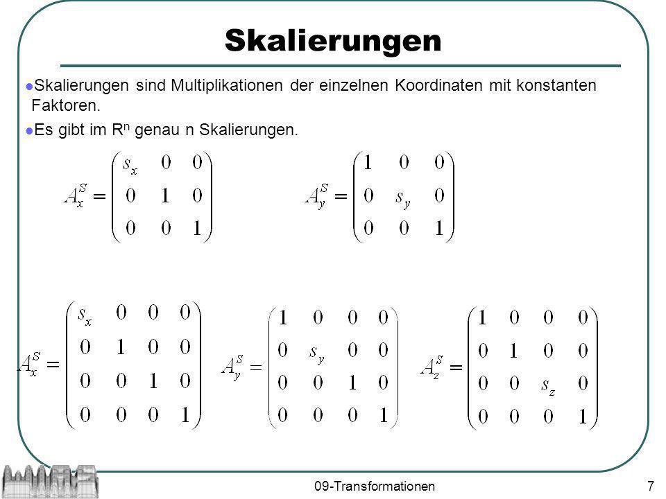 Skalierungen Skalierungen sind Multiplikationen der einzelnen Koordinaten mit konstanten Faktoren. Es gibt im Rn genau n Skalierungen.