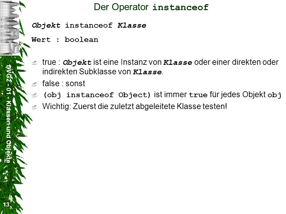 Der Operator instanceof