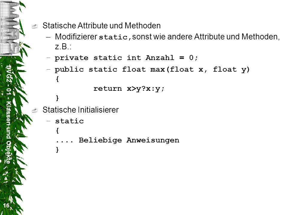 Statische Attribute und Methoden