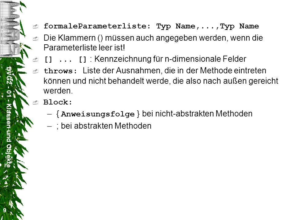 formaleParameterliste: Typ Name,...,Typ Name