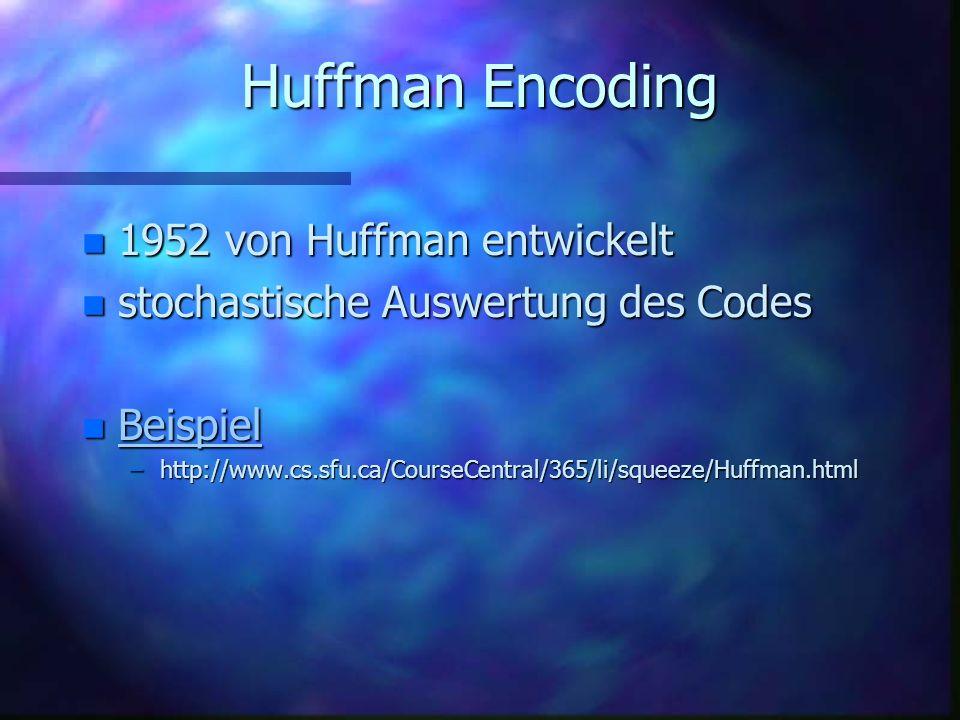 Huffman Encoding 1952 von Huffman entwickelt
