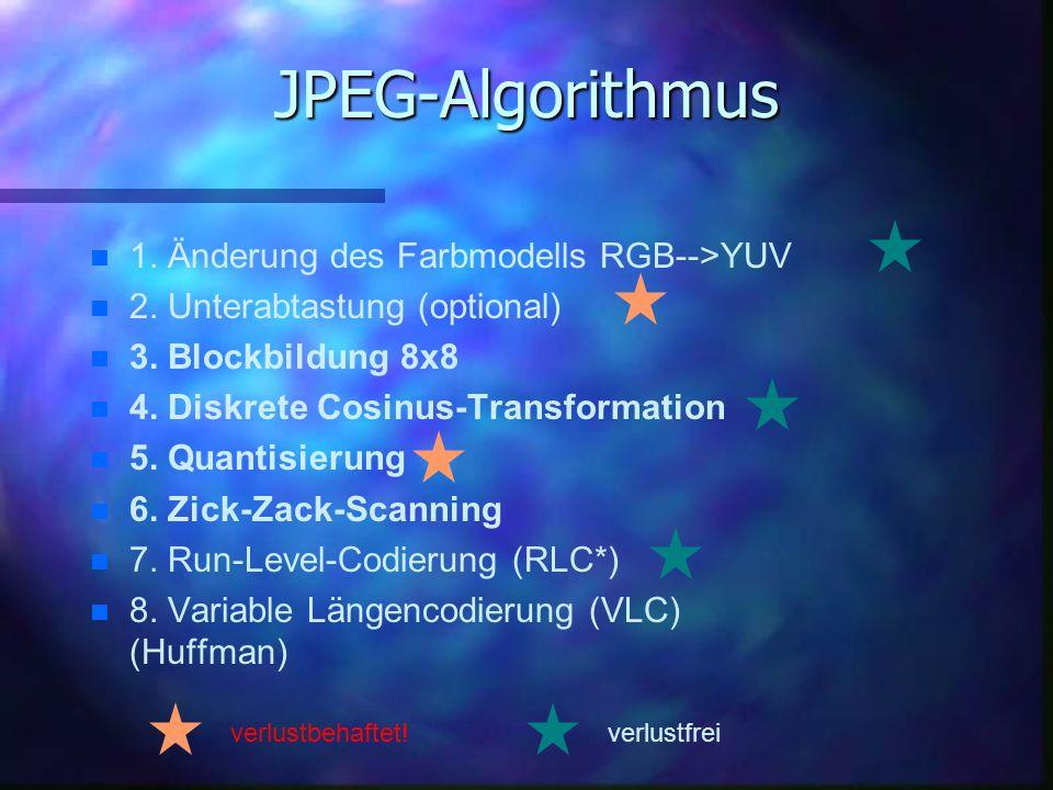 JPEG-Algorithmus 1. Änderung des Farbmodells RGB-->YUV