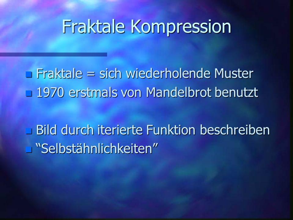 Fraktale Kompression Fraktale = sich wiederholende Muster