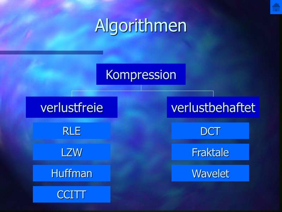 Algorithmen Kompression verlustfreie verlustbehaftet RLE DCT LZW