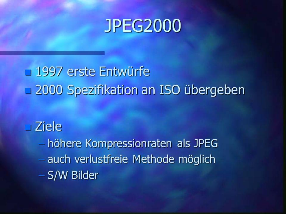 JPEG2000 1997 erste Entwürfe 2000 Spezifikation an ISO übergeben Ziele