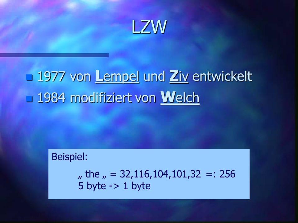 LZW 1977 von Lempel und Ziv entwickelt 1984 modifiziert von Welch
