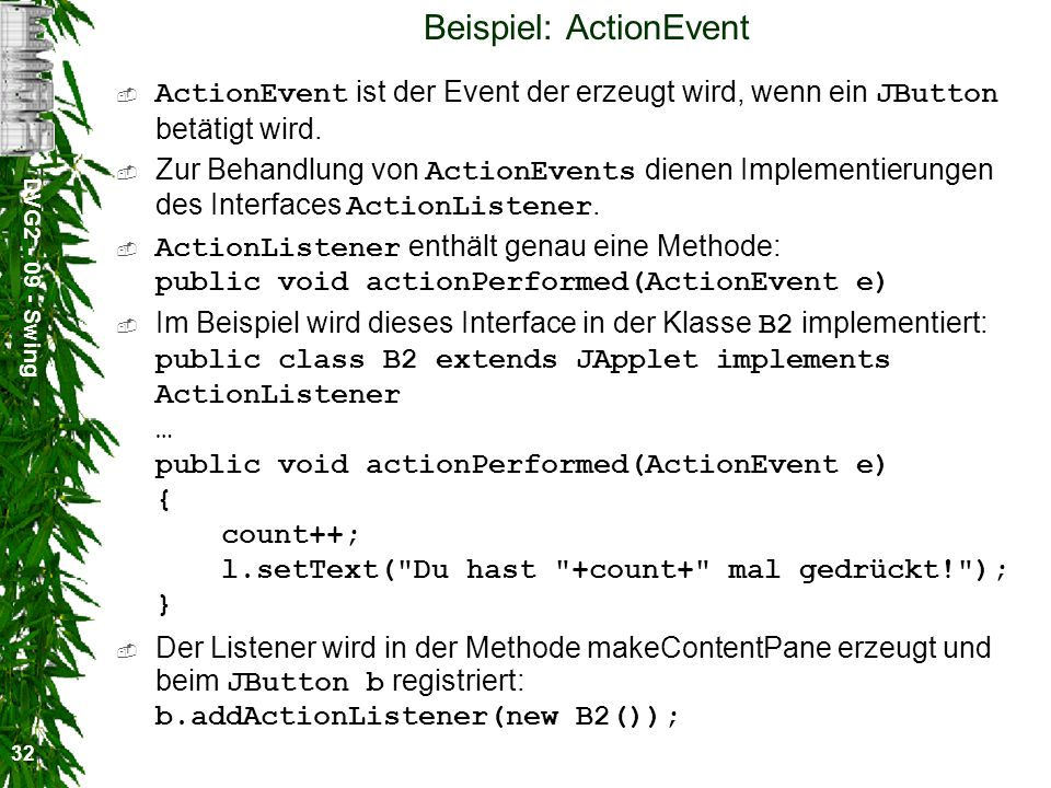 Beispiel: ActionEvent