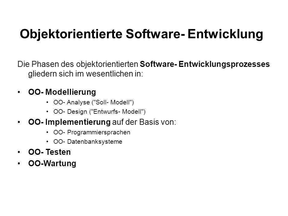 Objektorientierte Software- Entwicklung
