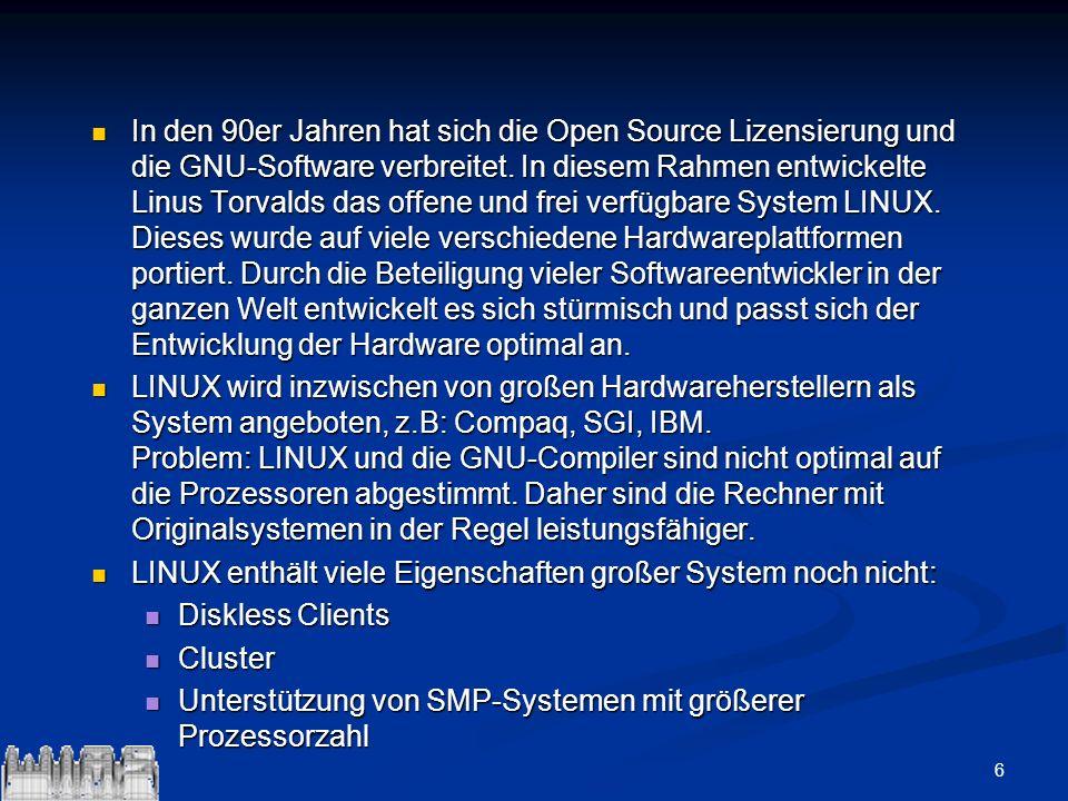 In den 90er Jahren hat sich die Open Source Lizensierung und die GNU-Software verbreitet. In diesem Rahmen entwickelte Linus Torvalds das offene und frei verfügbare System LINUX. Dieses wurde auf viele verschiedene Hardwareplattformen portiert. Durch die Beteiligung vieler Softwareentwickler in der ganzen Welt entwickelt es sich stürmisch und passt sich der Entwicklung der Hardware optimal an.