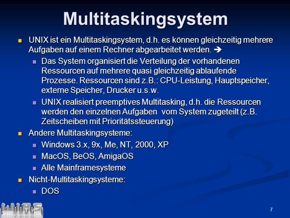 MultitaskingsystemUNIX ist ein Multitaskingsystem, d.h. es können gleichzeitig mehrere Aufgaben auf einem Rechner abgearbeitet werden. 