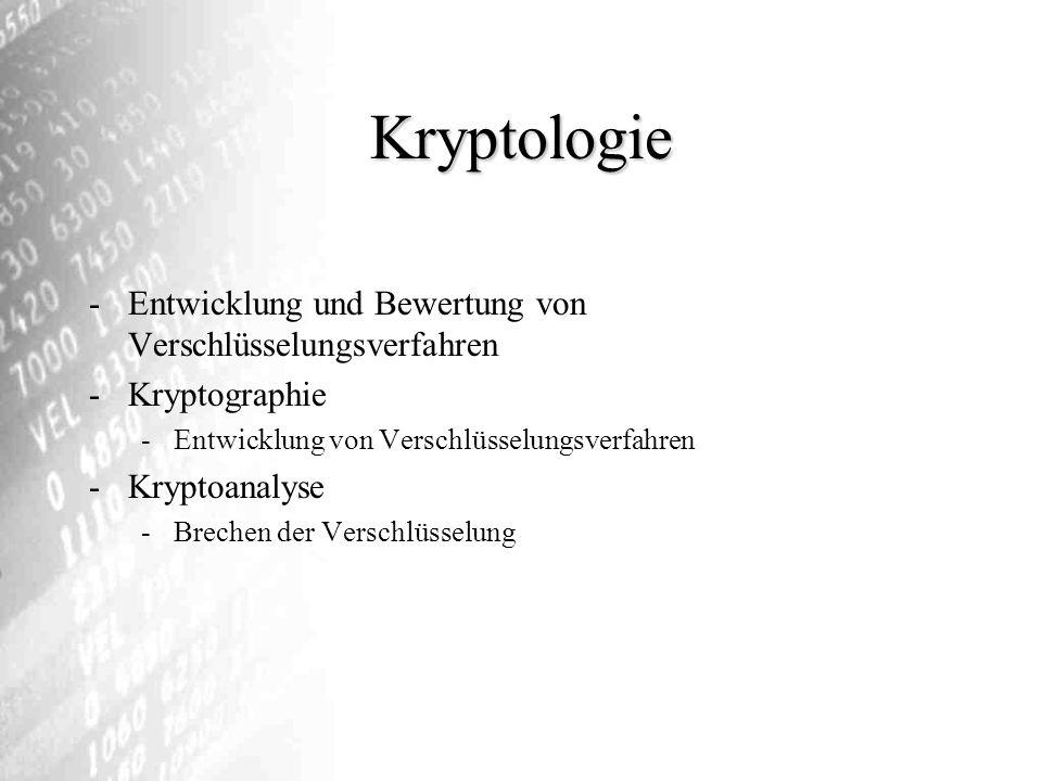 Kryptologie Entwicklung und Bewertung von Verschlüsselungsverfahren