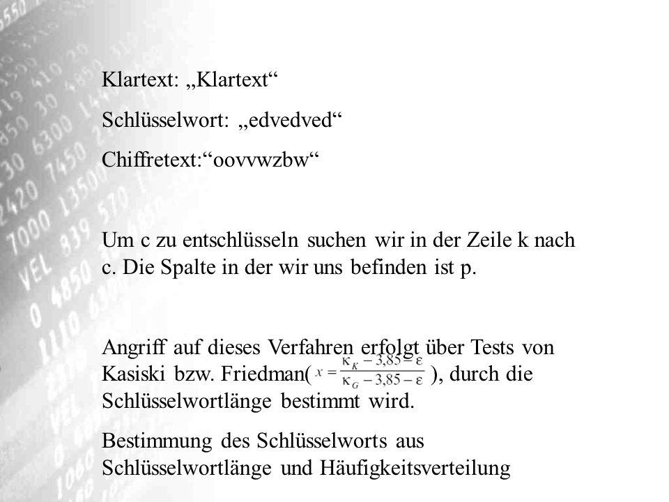 """Klartext: """"Klartext Schlüsselwort: """"edvedved Chiffretext: oovvwzbw"""