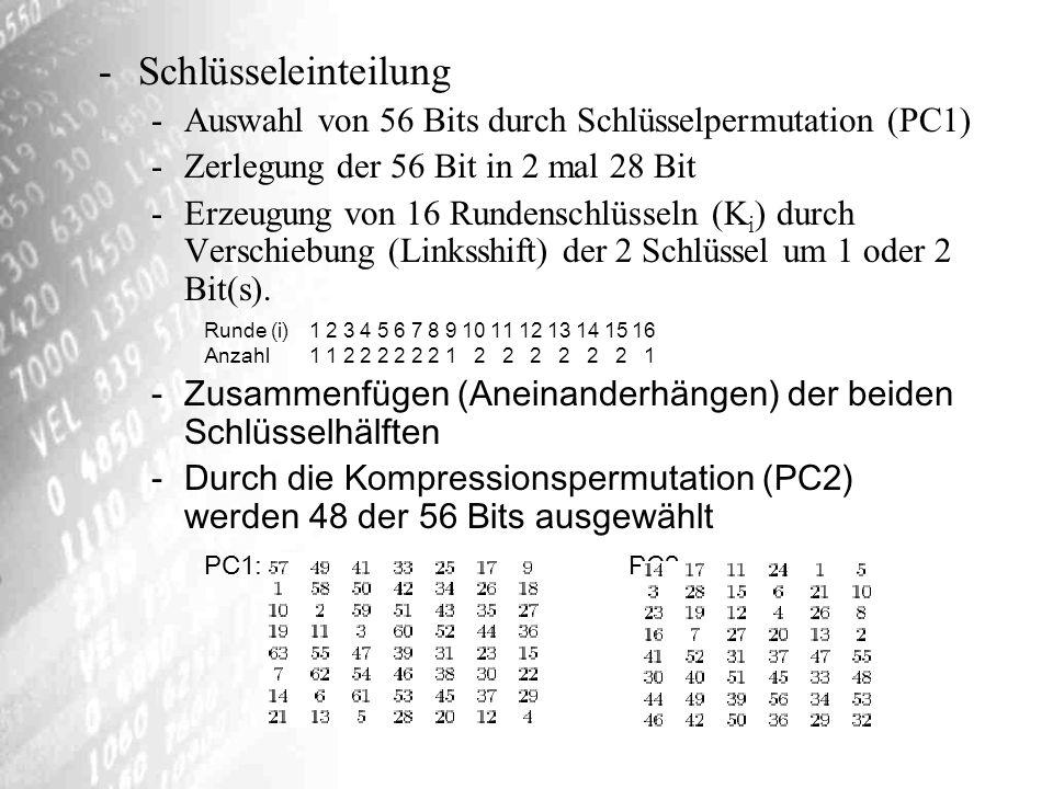 Schlüsseleinteilung Auswahl von 56 Bits durch Schlüsselpermutation (PC1) Zerlegung der 56 Bit in 2 mal 28 Bit.