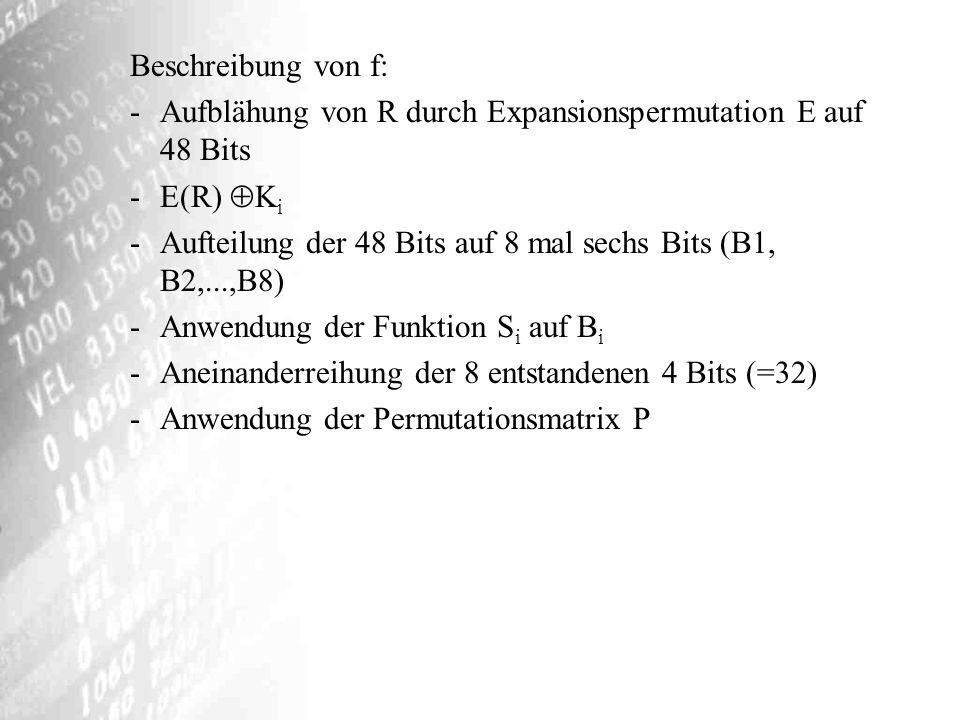 Beschreibung von f: Aufblähung von R durch Expansionspermutation E auf 48 Bits. E(R) Ki.