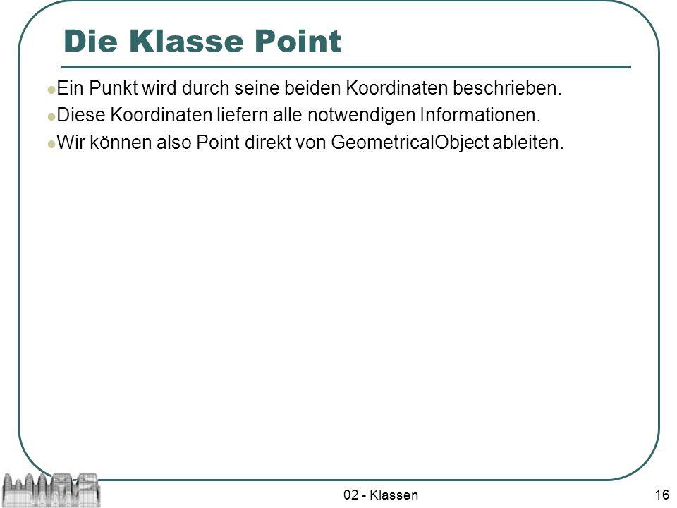 Die Klasse Point Ein Punkt wird durch seine beiden Koordinaten beschrieben. Diese Koordinaten liefern alle notwendigen Informationen.