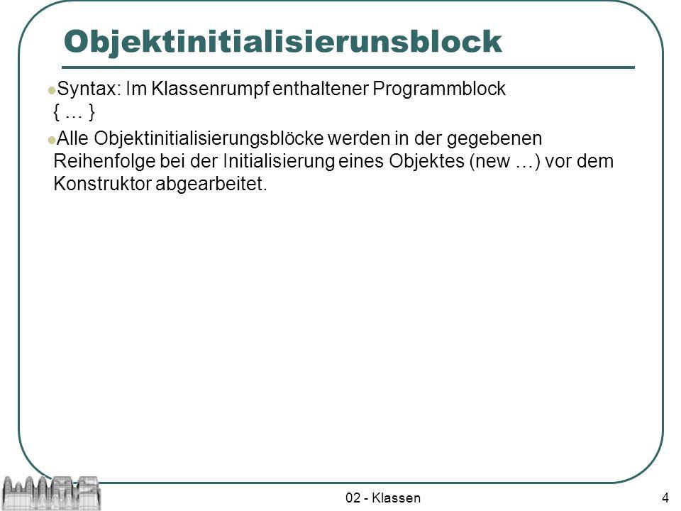 Objektinitialisierunsblock