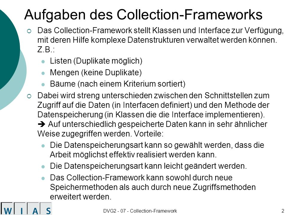Aufgaben des Collection-Frameworks