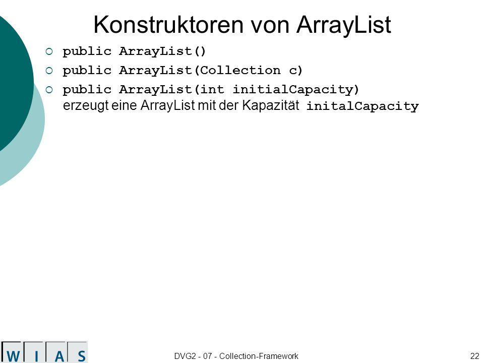 Konstruktoren von ArrayList