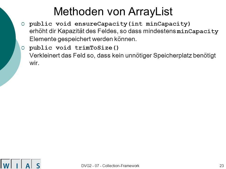Methoden von ArrayList