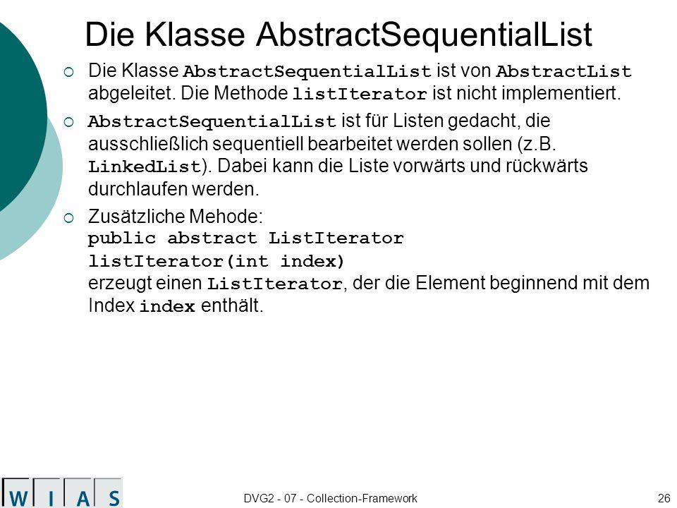 Die Klasse AbstractSequentialList