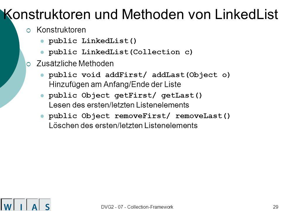 Konstruktoren und Methoden von LinkedList