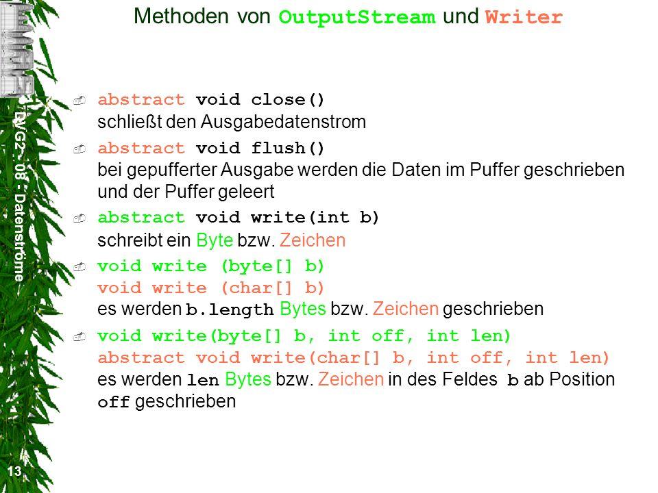 Methoden von OutputStream und Writer