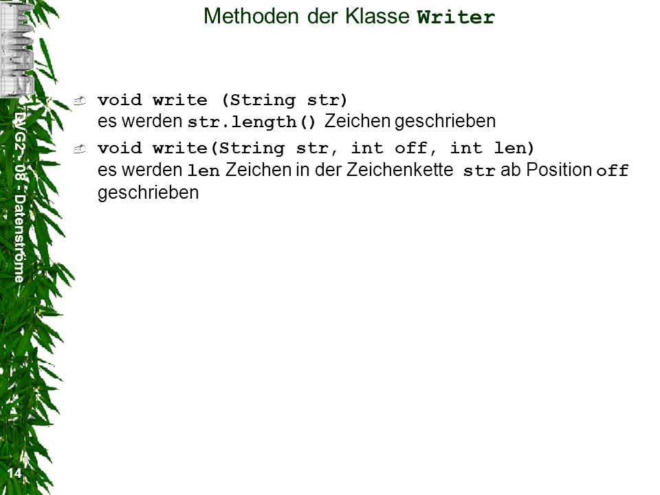 Methoden der Klasse Writer