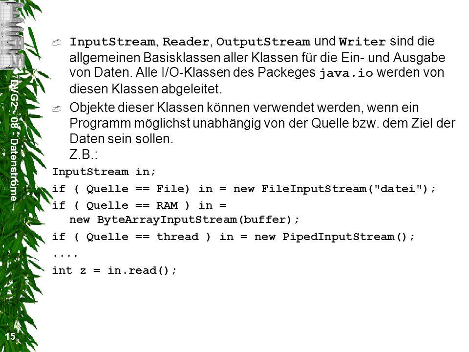 InputStream, Reader, OutputStream und Writer sind die allgemeinen Basisklassen aller Klassen für die Ein- und Ausgabe von Daten. Alle I/O-Klassen des Packeges java.io werden von diesen Klassen abgeleitet.