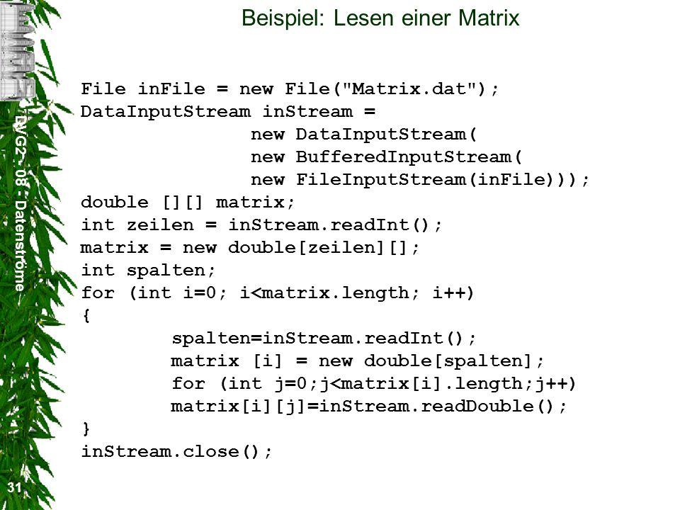 Beispiel: Lesen einer Matrix