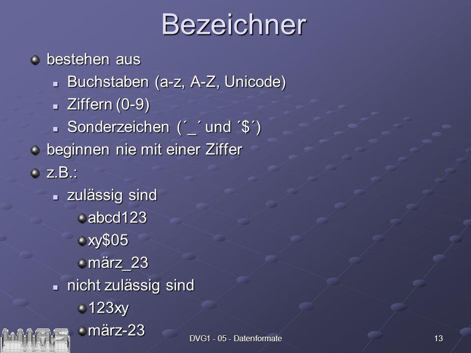 Bezeichner bestehen aus Buchstaben (a-z, A-Z, Unicode) Ziffern (0-9)
