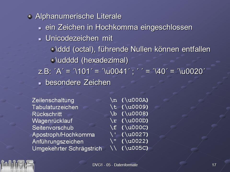 Alphanumerische Literale ein Zeichen in Hochkomma eingeschlossen