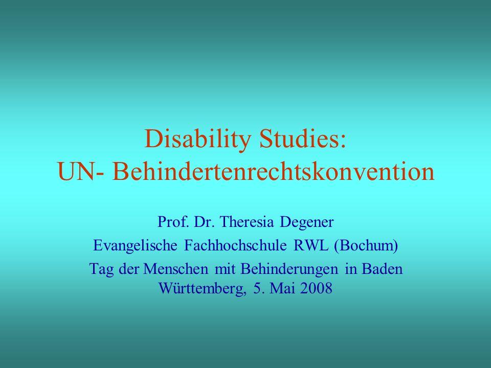 Disability Studies: UN- Behindertenrechtskonvention