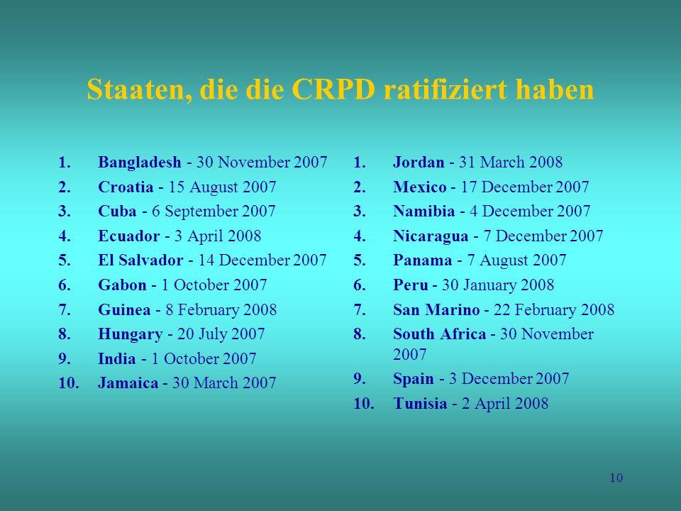 Staaten, die die CRPD ratifiziert haben