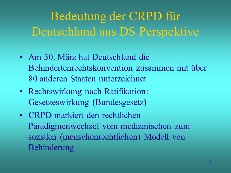 Bedeutung der CRPD für Deutschland aus DS Perspektive