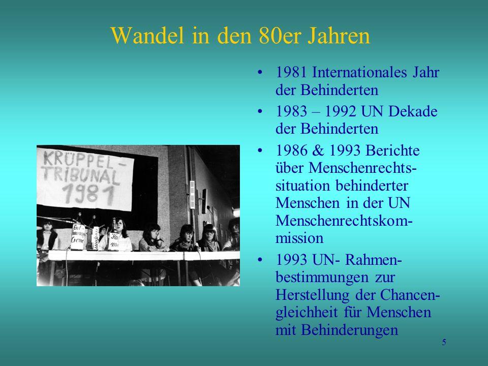 Wandel in den 80er Jahren 1981 Internationales Jahr der Behinderten