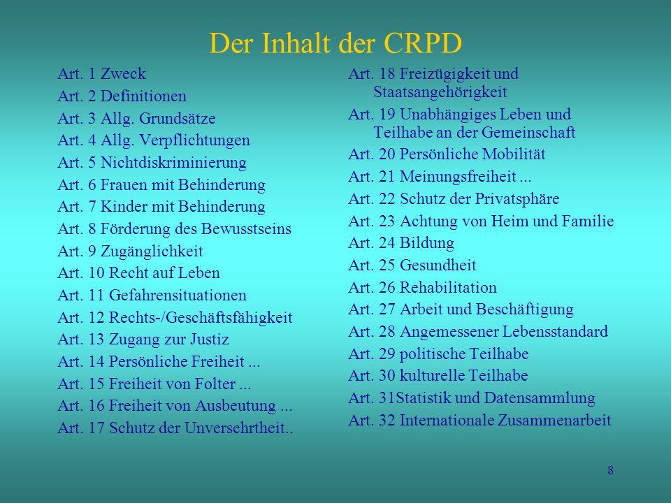 Der Inhalt der CRPD Art. 1 Zweck Art. 2 Definitionen