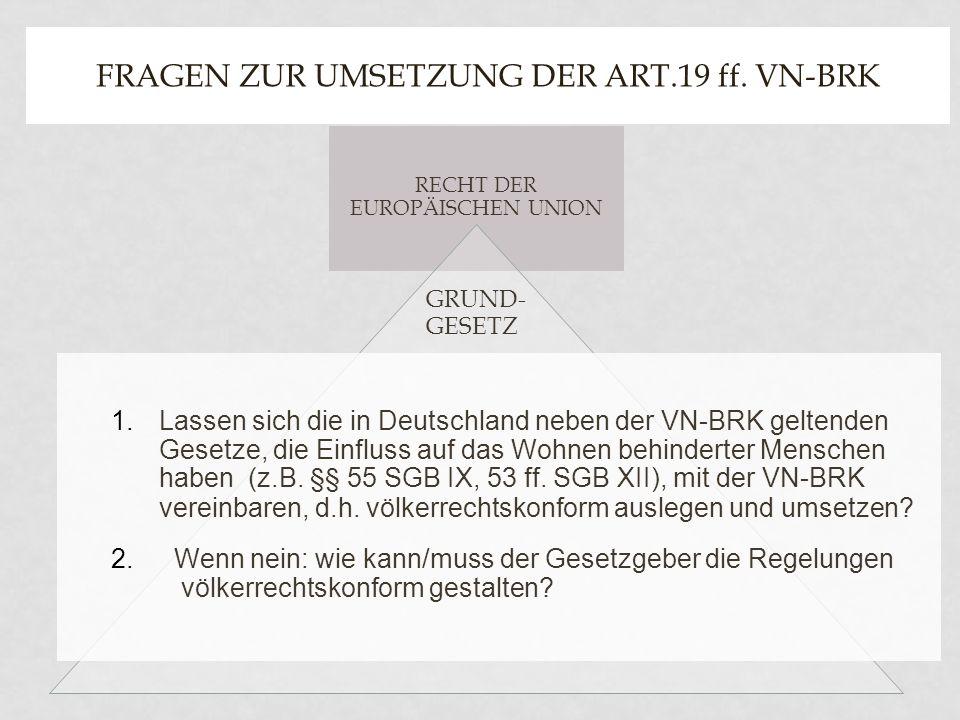 Fragen zur Umsetzung der Art.19 ff. VN-BRK