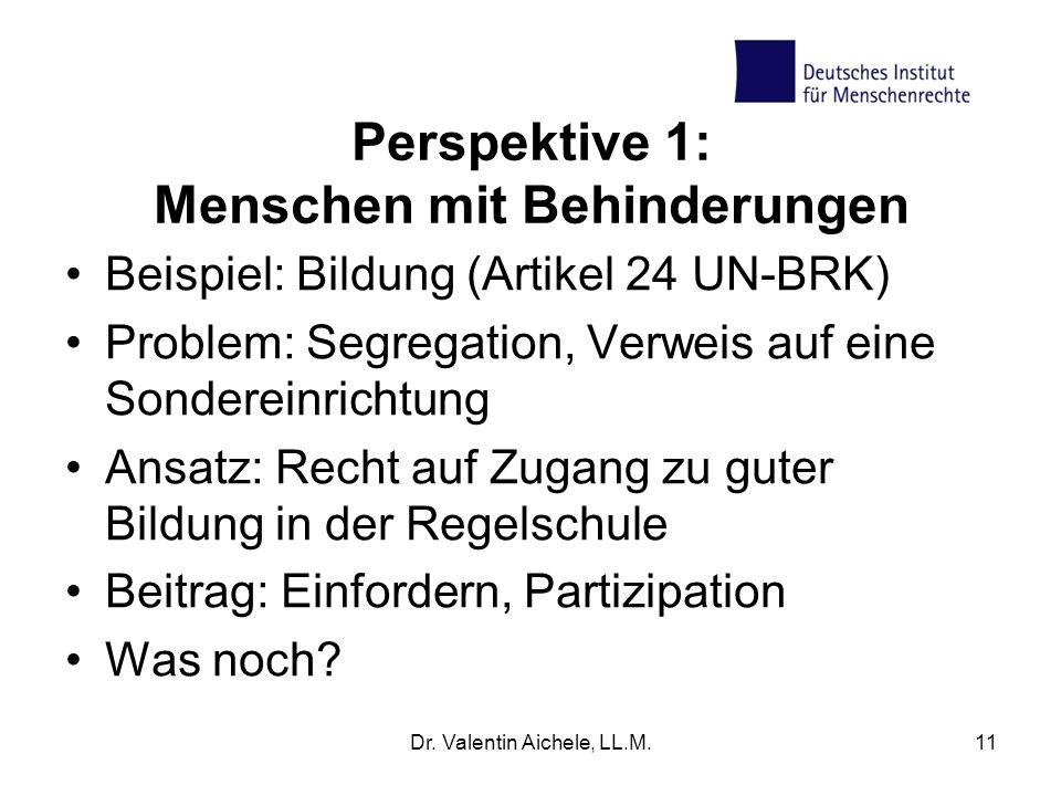 Perspektive 1: Menschen mit Behinderungen