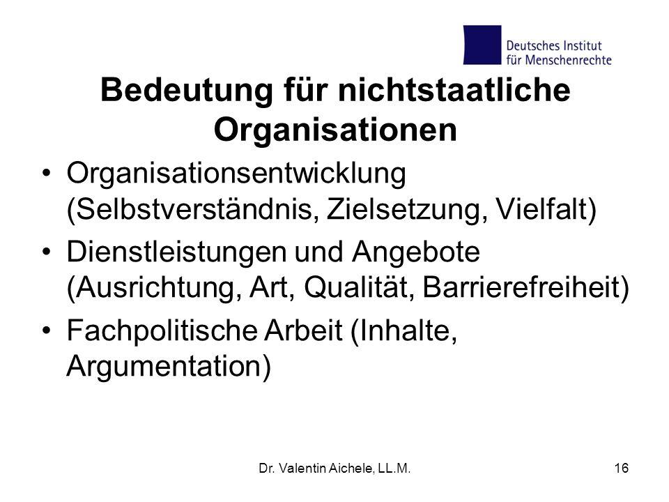 Bedeutung für nichtstaatliche Organisationen
