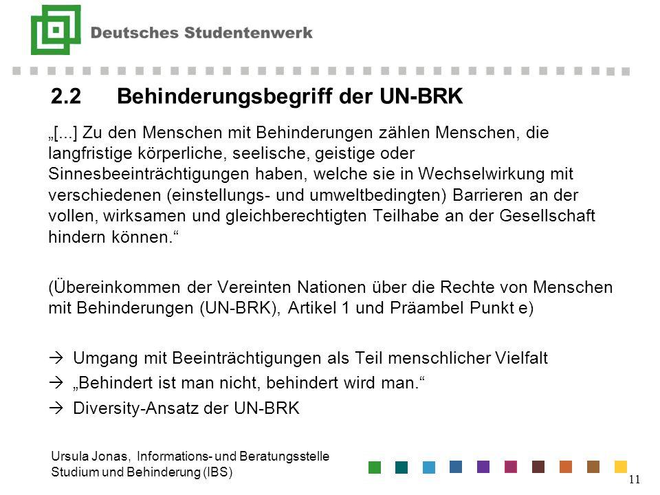 2.2 Behinderungsbegriff der UN-BRK