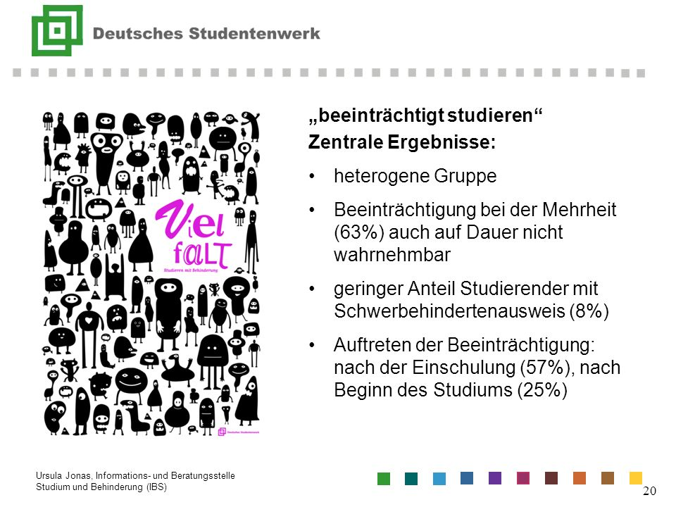 """Vielfalt """"beeinträchtigt studieren Zentrale Ergebnisse:"""
