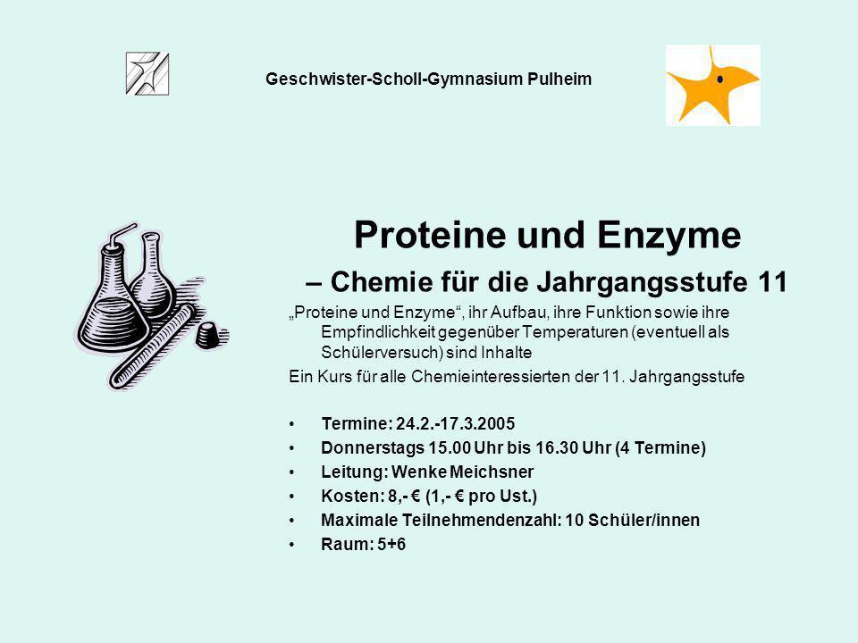 Proteine und Enzyme – Chemie für die Jahrgangsstufe 11
